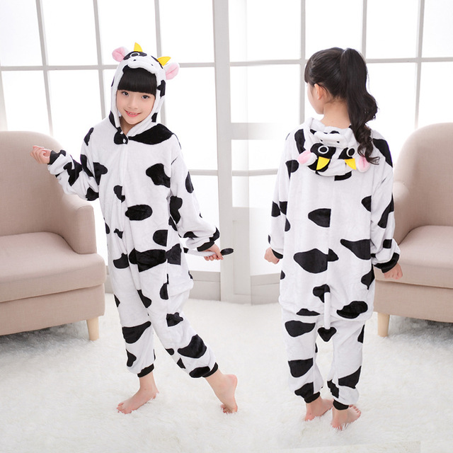 90-160cm Panda Kigurumi Animal Unicorn Onesie Kids Flannel Pajamas Boys Girls Winter Cosplay Party Jumpsuit Sleepwear Pijama