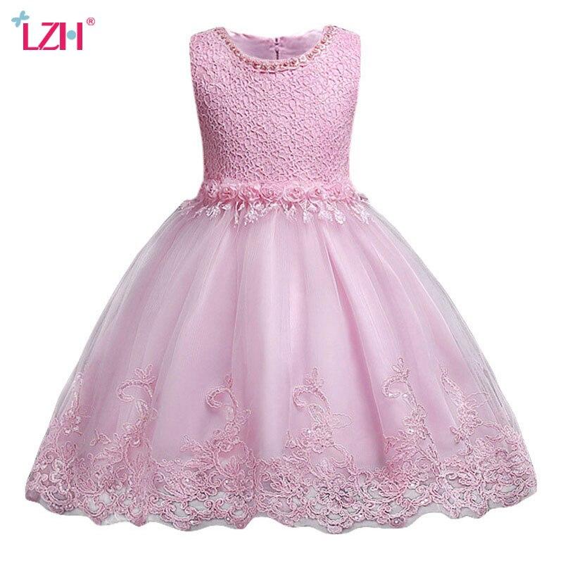 LZH 2018 Summer font b Baby b font Toddler Girls Princess Dress Kids Girls Wedding Lace