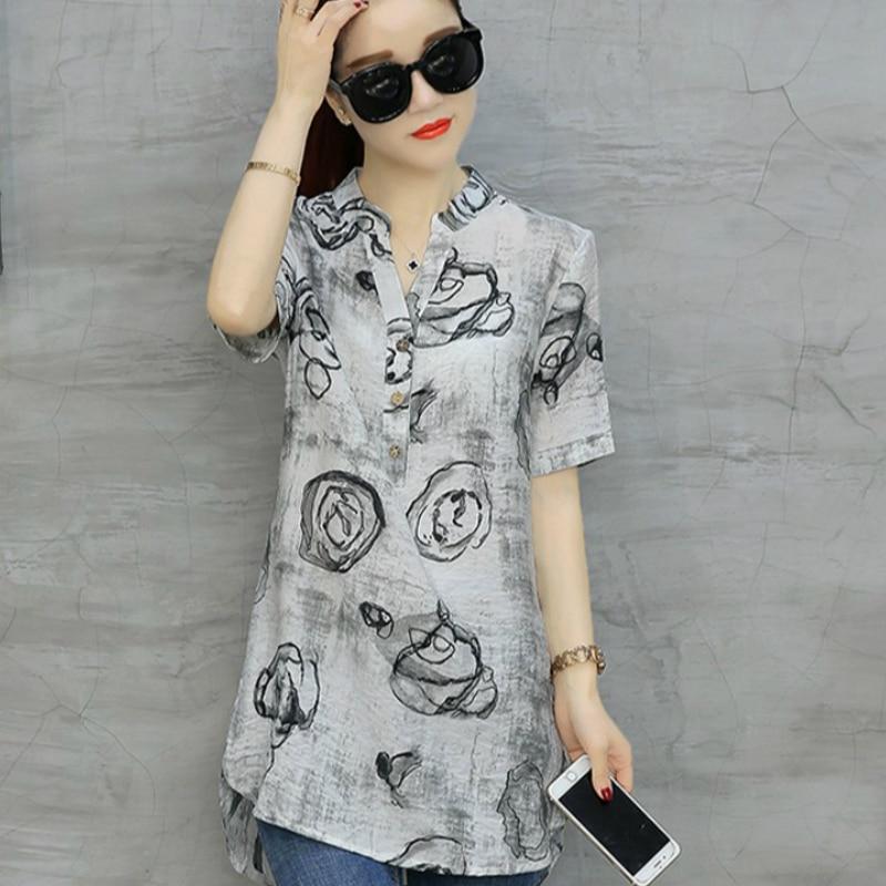 2018 Mode Vintage Floral Print Blusen Damen Kurzarm Plus Größe Hemd Casual Baumwolle Leinen Blusas Lange Chemise Femme D532