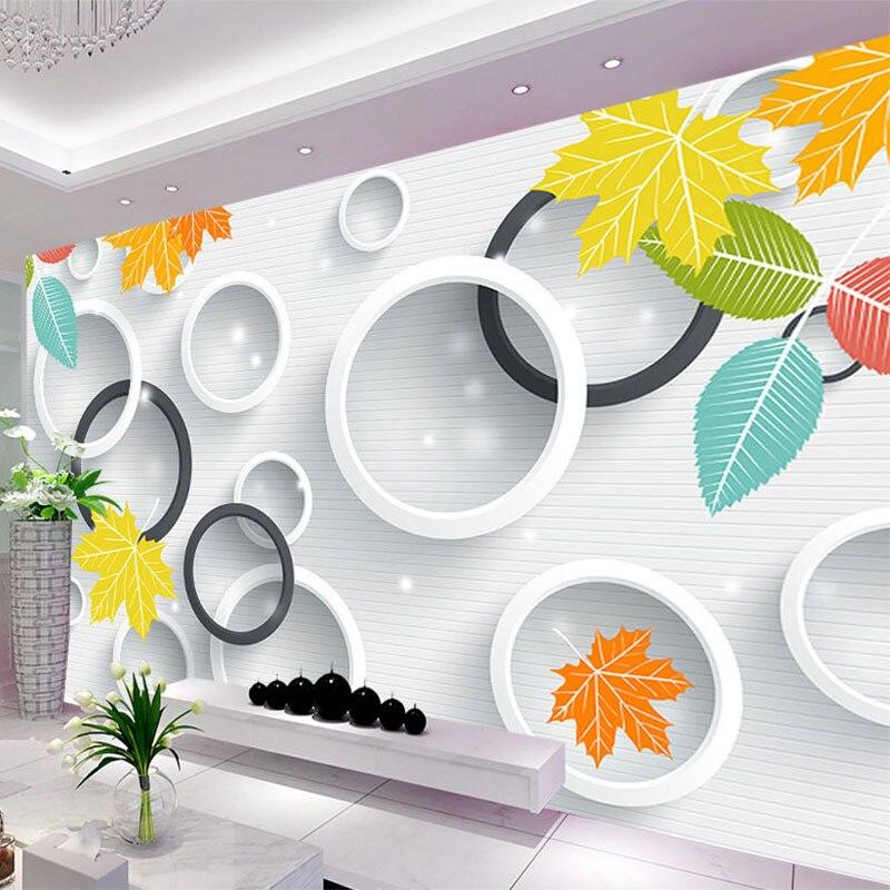 Custom Photo Wallpaper 3D Circles Leaves Landscape Murals Living Room TV Sofa Backdrop Wall Cloth Waterproof 3 D Papel De Parede