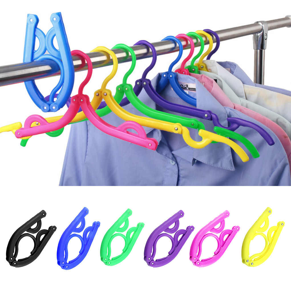 Portable Folding Plastic Clothing Coat Hanger Multifunctional Travel Foldable Hanger Children Clothes Drying Rack