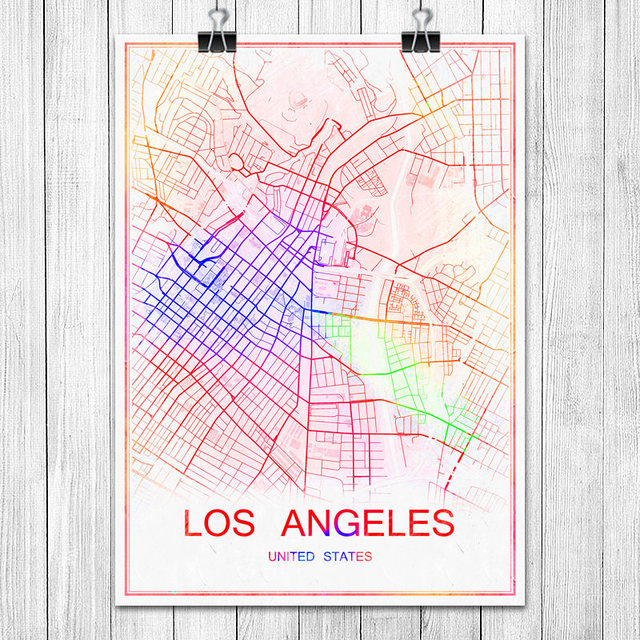 LOS ANGELES USA Famous Colorful World City Map Print Poster Abstract
