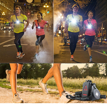 PANYUE 10PCS Outdoor LED Headlamp Chest Light Runner light Hunting Safety USB Charging 3 Modes Jogging Led Night Running
