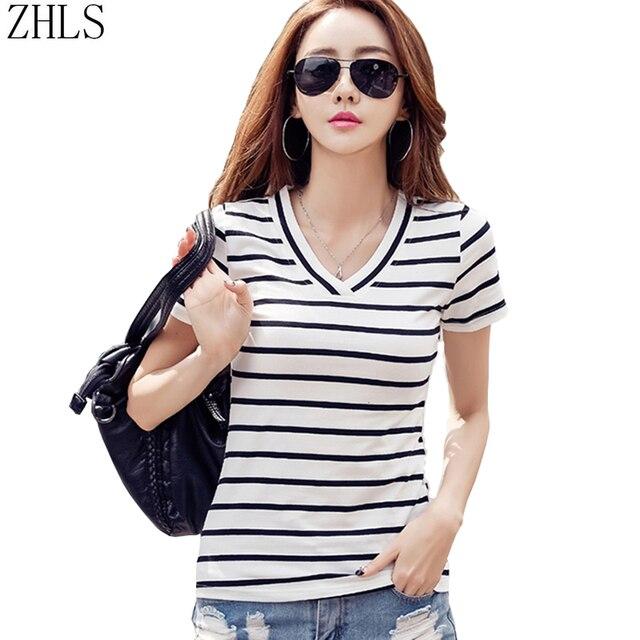 6a7b5e90e0b Oversized t shirt Women Cotton Casual Summer Style V-neck Black White  Striped Top Tees Female Girls Short Sleeve Shirt