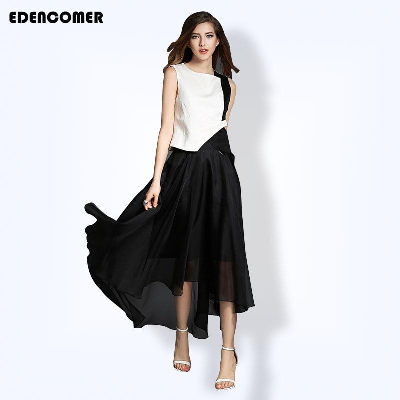 EDENCOMER Vest Irregular Long Skirt Women s Sets 2017 Summer Stitching Sleeveless Top Pleated Long Dresses