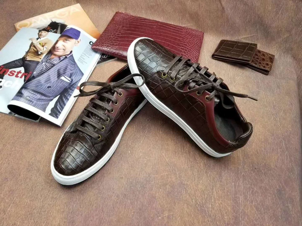 100% Genuine real crocodile belly skin men shoe durable solid crocodile belly skin men shoe sneaker flat fashion shoe free ship