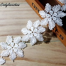 2Yards 7cm Width White Embroidered Snowflake Lace Trim Water Soluble for Curtain Sofa Edge Decoration Sewing Appliques