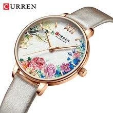 CURREN New Women Watch Flower Ultra-thin Grey Leather Strap Quartz Lady Fashion Lover Wristwatch Reloj Mujer Zegarek Damski Gift