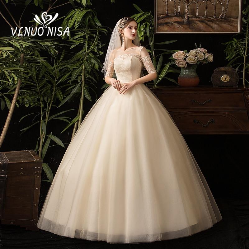 Plus Size New Arrival Simple Sweetheart Wedding Dress Half Sleeve Illusion Backless Lace Bridal Gowns Vestidos De Novia Cheap 35