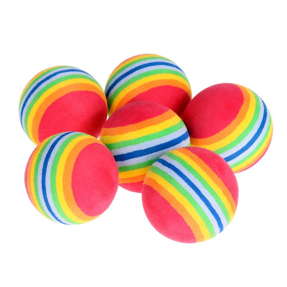 6pcs/Lot Rainbow Stripe Golf Balls Light-weight  Indoor Practice Sponge EVA Foam Golf Balls Swing Training Aids Golf Accessories
