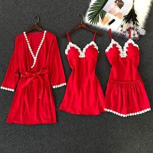 Image 3 - ZOOLIM נשים פיג מה סטי 4 חתיכות סאטן הלבשת פיג מה משי בית ללבוש תחרה חזה רפידות ספגטי רצועת שינה טרקלין Pyjama