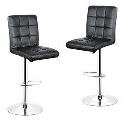 2pcs/lot Black Nine Grid Backrest Leisure Swivel Bar Stools Chairs Height Adjustable Pneumatic Pub Chair HWC