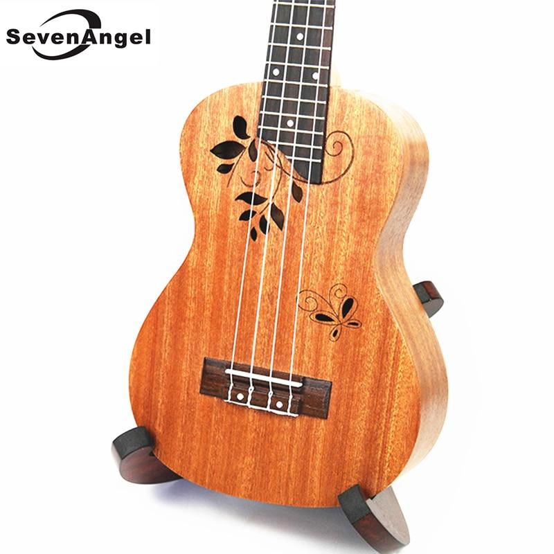 Concert acoustique 23 pouces ukulélé 4 cordes acajou hawaïen guitare 17 Fret électrique Ukelele pick-up EQ papillon amour fleur