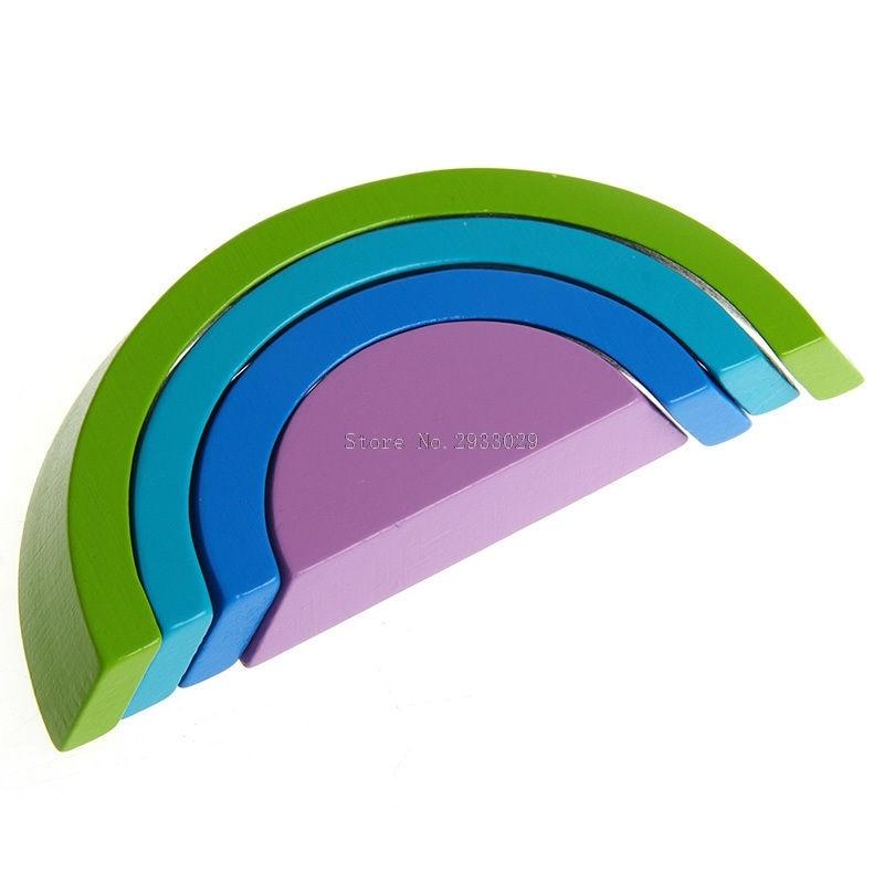Blocos novo 1 conjunto/7 pcs colorful Modelo Número : Wooden Rainbow