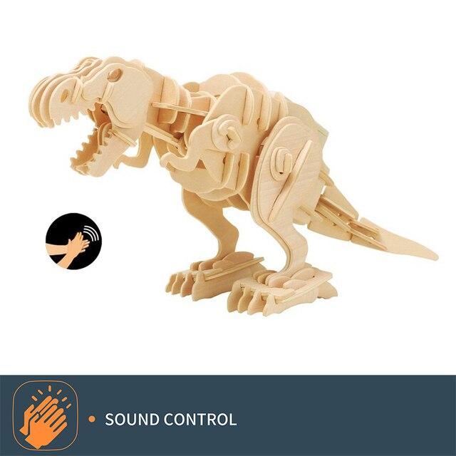 Robud Dinossauro Mecânico de Controle de Som DIY 3D Enigma De Madeira Brinquedos Modelo de Dinossauro para Crianças Melhores Presentes de Aniversário para Os Meninos