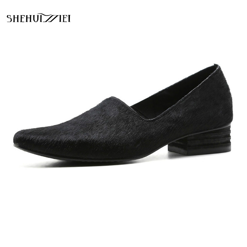 SHEHUIMEI Woman Flats Handmade Horsehair SheepSkin Women Loafers Brand Fashion Elegant Pointed Toe Ladies Casual Oxfords Shoes 2016 new arrival elegant pointed toe flats for women casual brand shoes woman flats fashion flock boat shoes free shipping
