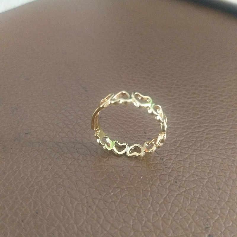 ปรับทองสี Hollowed-out Heart Shape แหวนเปิดออกแบบน่ารักแฟชั่น Love เครื่องประดับสำหรับหญิงสาวสาวเด็กของขวัญ Ad