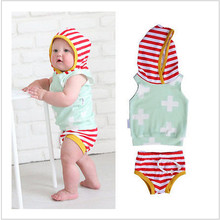Toddler Striped Hoodies T-shirt Cute Baby Girl Clouds Top Hot Baby Boy Red Striped Shorts Pants Outfits Set  Free transport