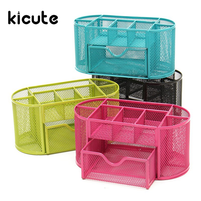 Kicute 1pcs Desk Organizer Mesh Metal Desktop Office Pen Pencil Holder Storage 9 Compartment Stationery Container Tidy Office 9 grids metal mesh desk organizer with drawer colorful student home office new supplies desktop stationiery holder