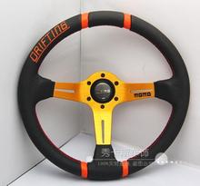 Free shipping 350mm / 14inch Deep Dished Sport Racing Leather Alloy Steering Wheel DRIFTING