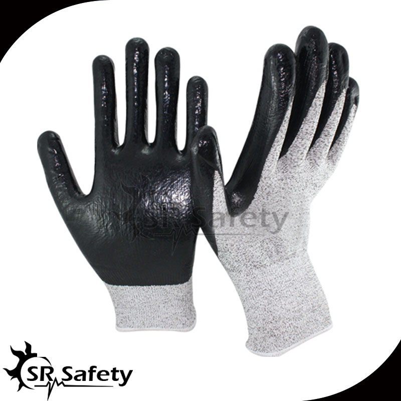 SRSAFETY 1 Pair EN388 4343,Nylon-HPPE Cut Resistant Nitrile Dipping Working Glove,Glass industry,Metal processing,Cut Level 3 anti cut safety glove hppe cut resistant work glove