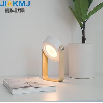 Creativo mango de madera portátil lámpara de la linterna telescópica plegable lámpara de mesa led lámpara de luz de noche USB Lámpara de lectura