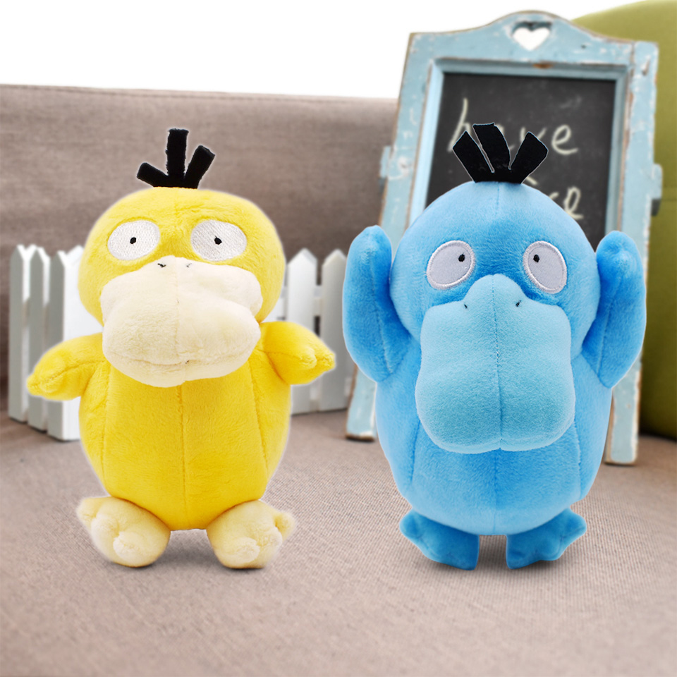 16-18cm Shiny Psyduck Japanese Anime Cartoon Doll Psyduck Peluche Toy Yellow Blue Duck Stuffed Animals Plush Doll Children Gift