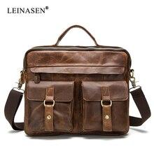 BAILLR Brand Men Genuine leather Handbag men Briefcase Crazy Horse Cowhide real Crossbody Shoulder bag 2size 12color