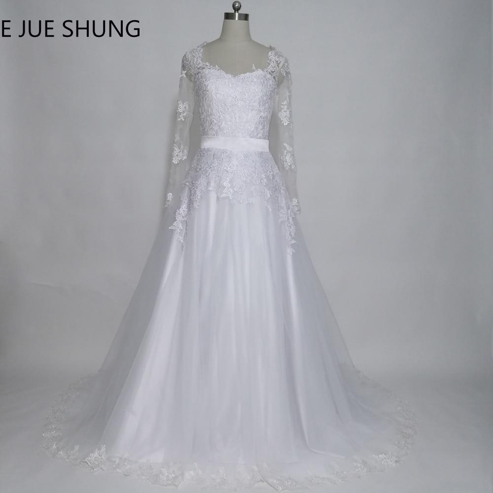 E JUE SHUNG Noņemamas vilcienu kāzu kleitas 2017 V-veida kakla garās piedurknes divās daļās kāzu kleitas 2 in 1 kāzu kleita