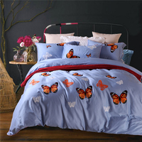 IvaRose 60S 100 Cotton Satin Luxury Bedding Set Wool Embroidered Bedding Set Bedclothes Duvet Cover Bed