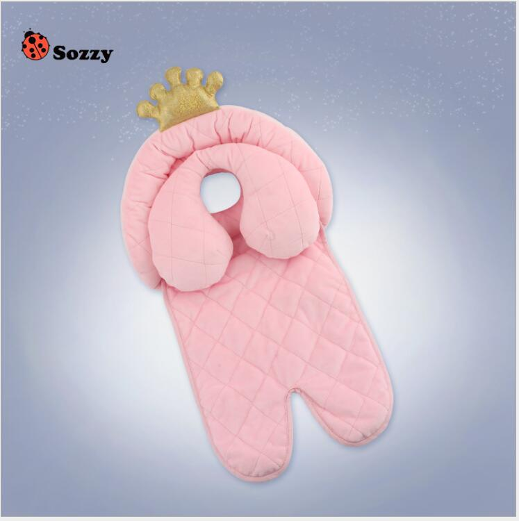 Sozzy Baby Stroller Mat With Anti Roll Pillow Cotton Child Infant Cushion For Strollers Kids Toddlers Head Body