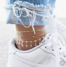 Bulgaria Mosaic Zircon Chain Ball Anklet For Women Chic Multi Layer Metal Gold Color Anklet For Girl Wedding Party Gift Jewelry chic solid color double layer anklet for women
