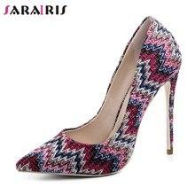 0287a41c4c SARAIRIS Mulheres Colorido Faixa de Designer de Sapatos de Luxo Mulher de Salto  Alto Bombas Apontou