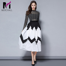 Merchall Self Portrait Runway Designer Dress 2019 Spring Patchwork Black Hollow Out Lace Round Neck Pleated Party Women Dresses