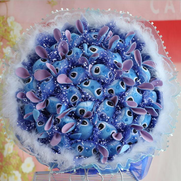 Stitch Flowers Plush Stuffed Carton Animals Toys Artificial Kawaii Cartoon Fake Flowers Best Birthday Christmas Day Gifts Toys