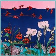 Lesida lenço de seda pura mulher grandes xales stoles flor impressão quadrada cachecóis echarpes foulards femme bandanas envoltório 130*130 cm