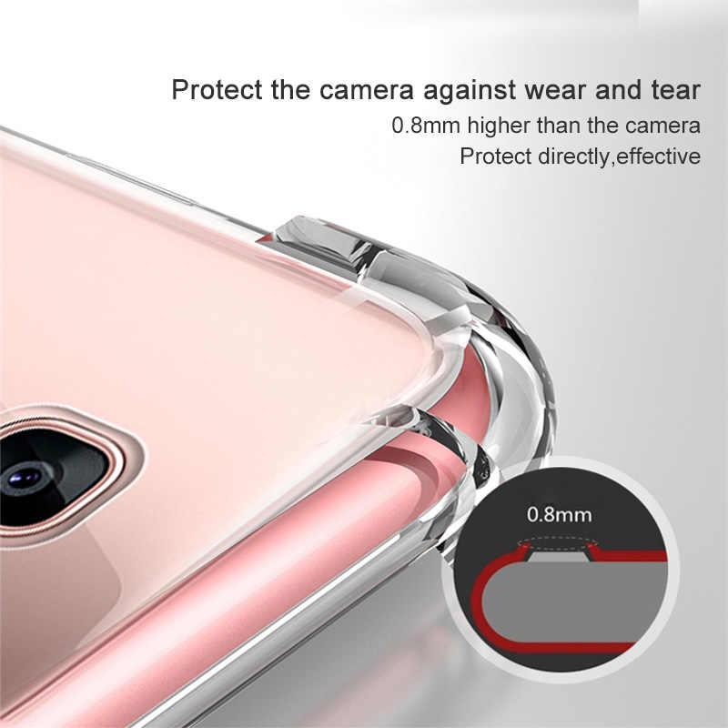Silikon Lembut Tahan Guncangan Case untuk Samsung Galaxy S4 S5 Neo S6 S7 Edge Note 3 4 5 Ponsel Jelas tipis Slim Penutup Belakang