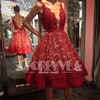 62659546cf09 Fashion Burgundy Lace Prom Dress 2017 Short Beaded Evening Gown Deep V Neck  Formal Dress Robe