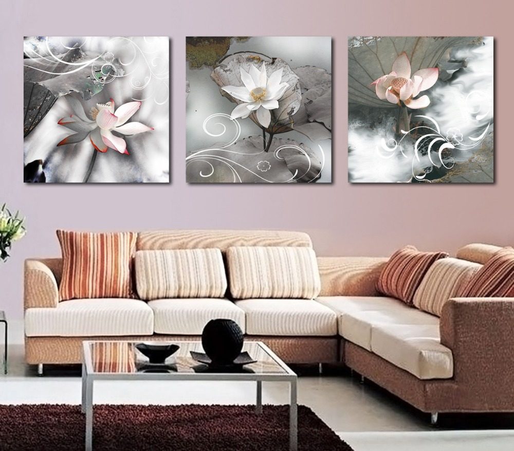 3 piece canvas wall art painting black with white flower Blossom - Home Decor - Photo 1
