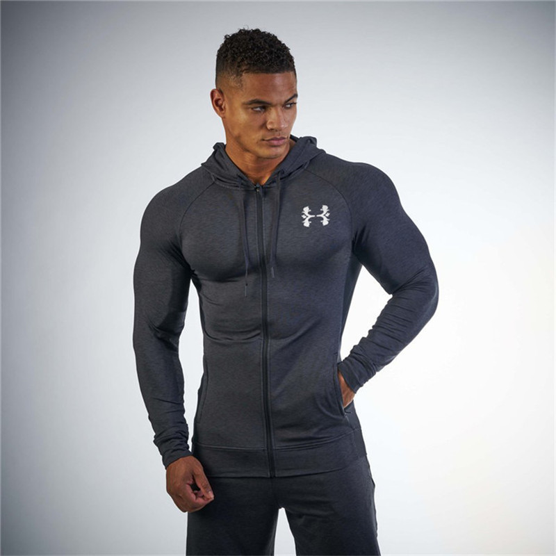 Running Jacket Men Sports Coat Fitness Long Sleeve Hooded Tight Hoodies Zipper Slim Hiking Sweatshirts Male Gym Training Jackets