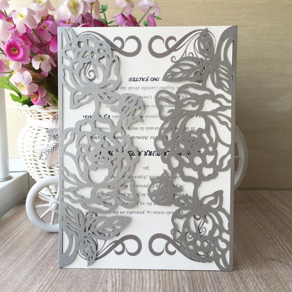 30PC/lot Silver Laser Cut Flowers Wedding Invitation Party Table ...