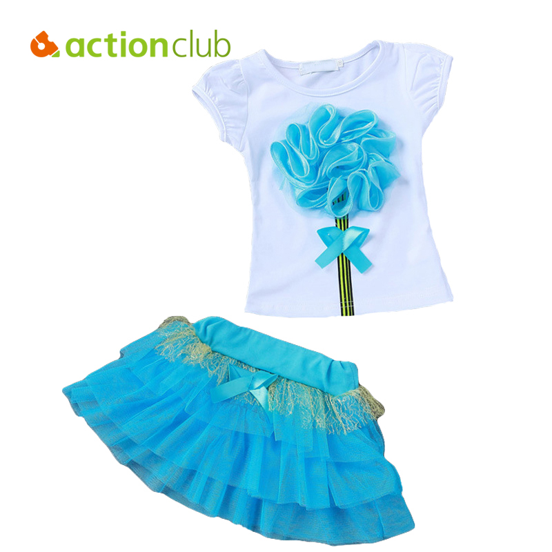 Actionclub Baby Girls Clothes Set T-shirt and Tutu Skirt Girls Summer Clothing Set Elsa Anna Pattern Tees Tops Kids Clothing 2016 3 7y kids girls t shirt summer cartoon elsa and anna baby gilr clothes t shirt short sleeve for children girl tops clothing