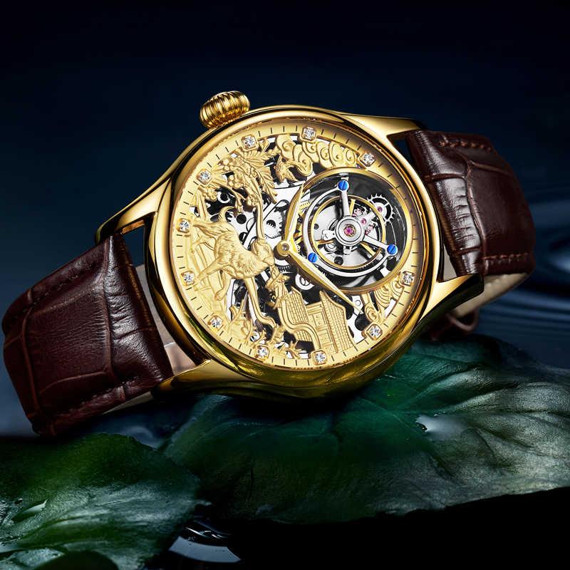 ريال توربيون GUANQIN 2019 ساعة ساعة ياقوت اليد الميكانيكية الرياح نمط ساعة الرجال مشاهدة العلامة التجارية الفاخرة relogio masculino