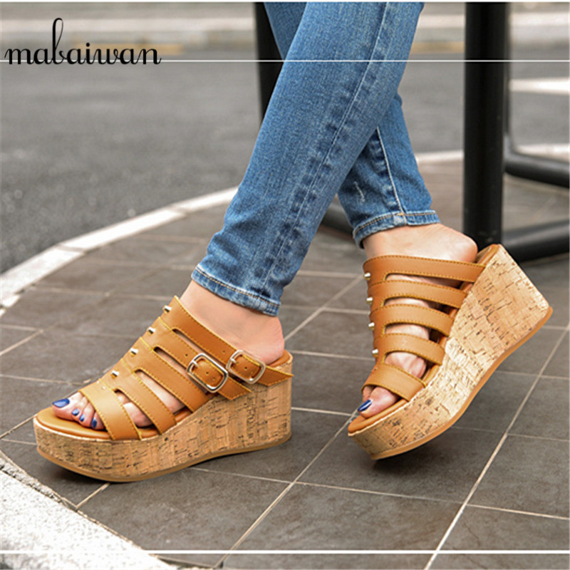 купить Mabaiwan Women Beach Shoes Summer Sandals High Heel Genuine Leather Slippers Sewing Party Shoes Women Peep Toe Pumps Flip Flop онлайн