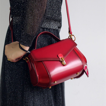 2019 New Vitage Solid Women Handbags Genuine Leather Cow Leather Burgundy-red Bag Lady Shoulder Crossbody Messenger Bags