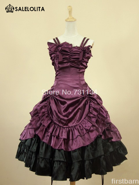 2016 High End Short Strapless Purple And Black Satin Victorian