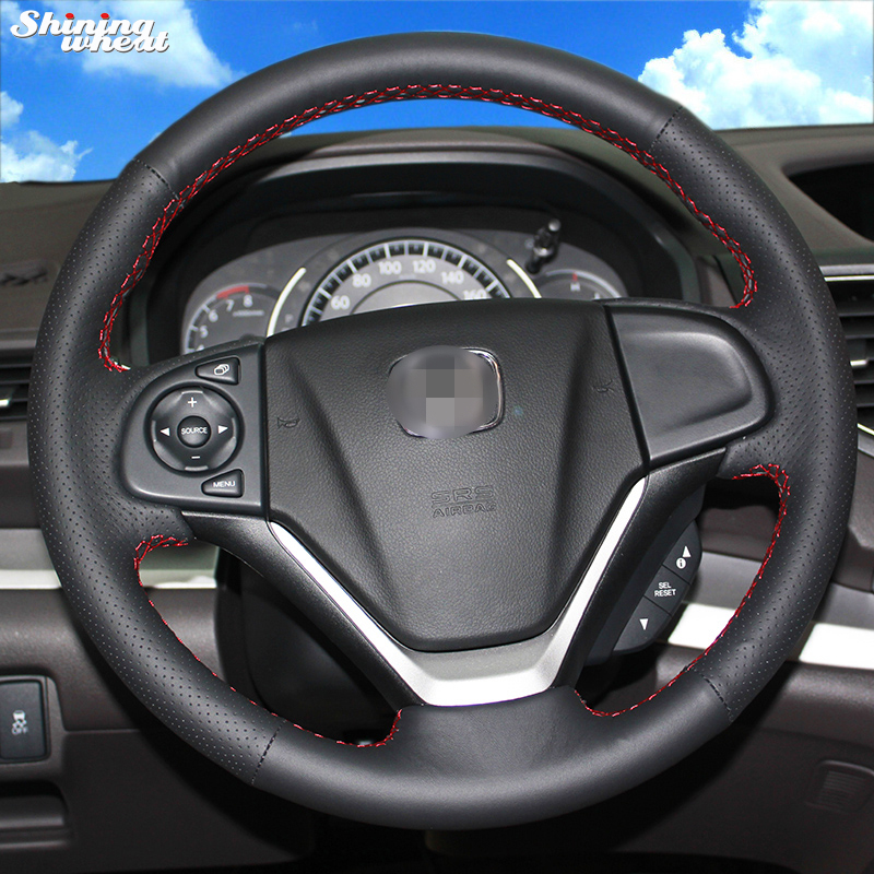 Shining wheat Hand stitched Black Leather Steering Wheel Cover for Honda CRV 2012 2014