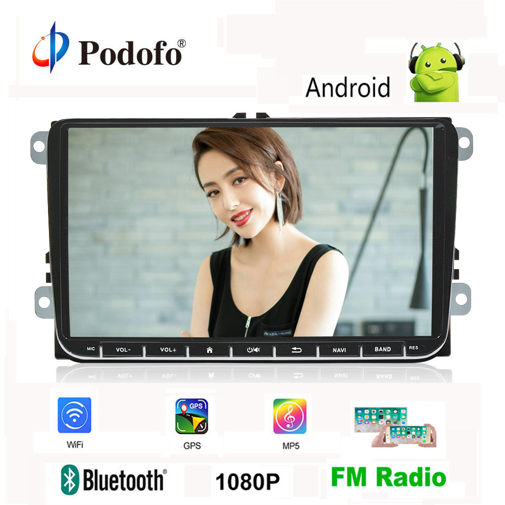 "Podofo 2 din 9"" Android Car Radio 1+16GB Wifi GPS Mirror link MP5 FM Multimedia bluetooth/canbus/ISO/USB/RCA Audio Backup Camera"