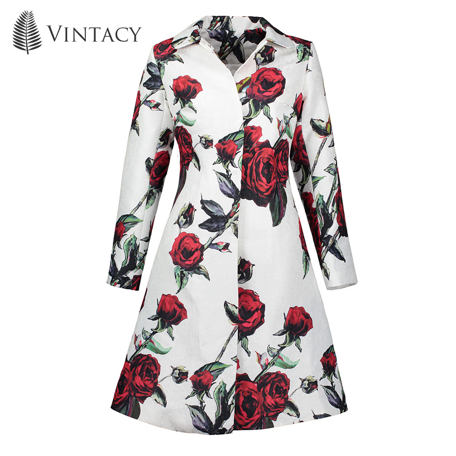 Vintacy 2018 Red long Overcoat Maxi A Line fashion women coats Pocket Button overcoat Color Block tops spring autumn Polo Neck