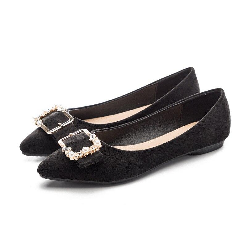 Shoes Women Casual Pointed Toe Black for Women Flats Rhinestone Beading belt buckle Comfortable Slip on Women Shoes hot sale rhinestone rectangle shape buckle belt for women